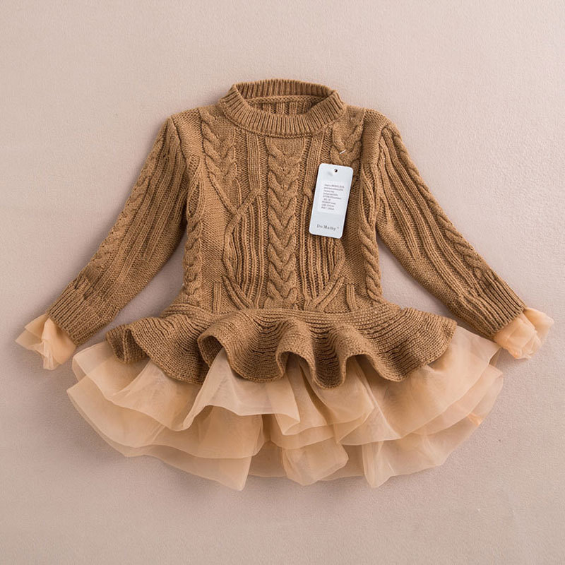 Girls Dress Christmas Wedding Party Dresses Knitted Chiffon Winter Kids Girls Clothes Children Clothing Thick Warm Girl Dresses (8)