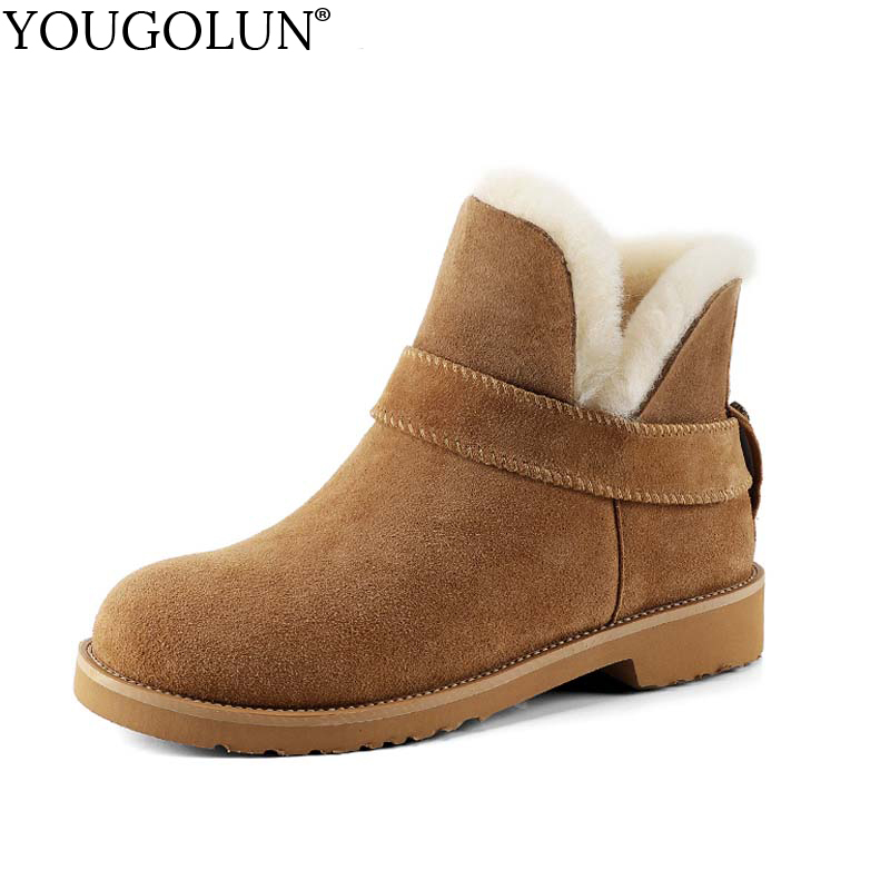 YOUGOLUN Women Snow Ankle Boots Fur Cow Suede 2017 New Winter Brown Buckle Low Heels 3 cm Shoes #Y-182 men shoes cow muscle fur male new arrival cotton padded man snow boots winter ankle warmth pull on low heeled thread antiskid page 3