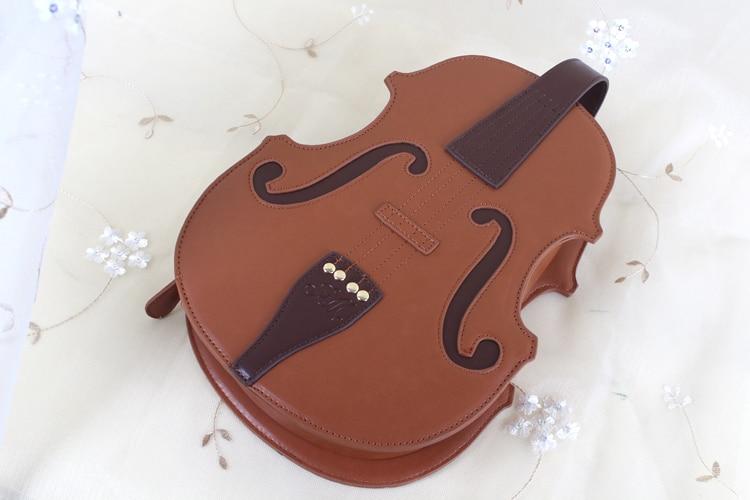 Único Violino Forma de Bolsa De Couro