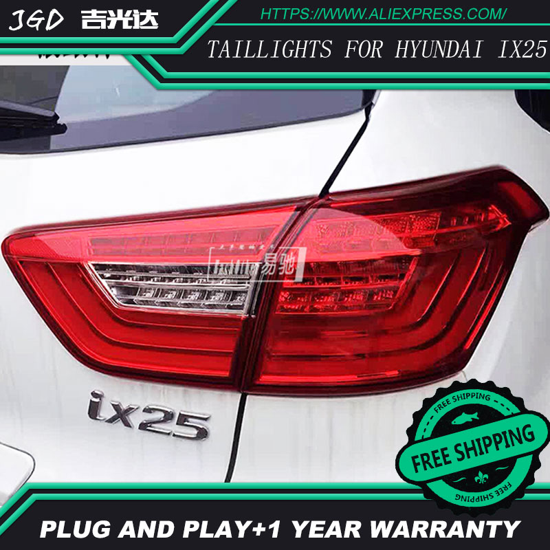 Car Styling tail lights for Hyundai ix25 2014-2016 taillights LED Tail Lamp rear trunk lamp cover drl+signal+brake+reverse car styling tail lights for toyota fortuner taillights led tail lamp rear trunk lamp cover drl signal brake reverse