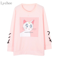 Lychee Women Sweatshirt Luna Cat Printed Lace Up Long Sleeve Spring Autumn Tracksuit Sailor Moon