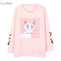 Lychee Women Sweatshirt Luna Cat Printed Lace Up Long Sleeve Spring Autumn Tracksuit Sailor Moon