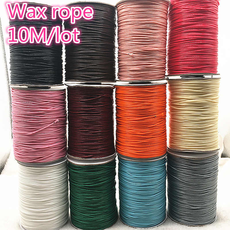 10 meters 1mm Waxed Cotton Cord Waxed Thread Cord String Strap Necklace Rope Bead DIY Jewelry Making For shamballa Bracelet