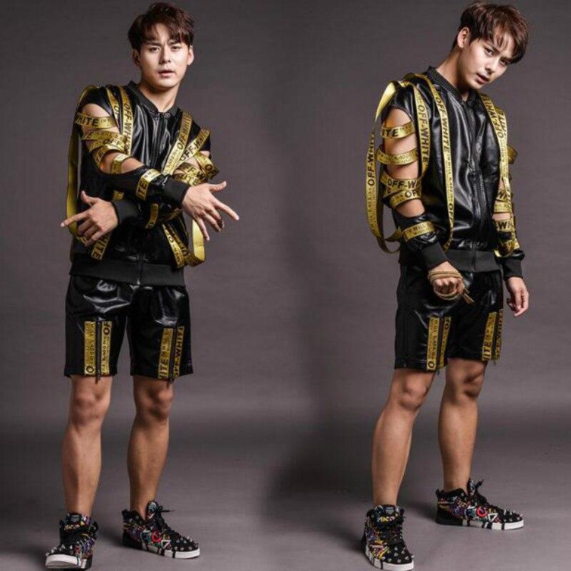 Moto cuir costumes hommes (shorts + veste + gilet) discothèque mâle chanteur DJ hip hop rock DS lettre vêtements pour hommes