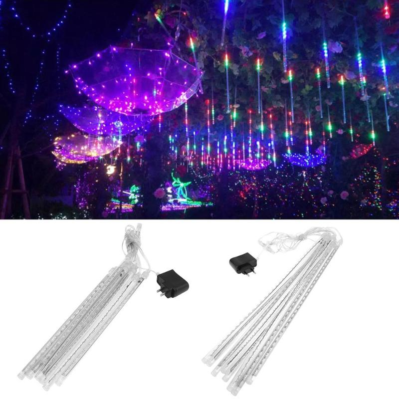 8pcs Waterproof Colorful Meteor Shower Rain Tubes LED String Light EU/US Plug Wedding Party Garden Outdoor Holiday Decoration