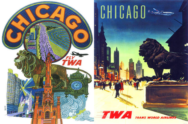 Vintage Fly TWA World Travel Chicago Retro Poster Canvas Painting ...