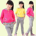 Spring & Autumn  Baby & Kids Clothing Set  For 3-12Y kid casual sports suit ,Girls Outerwear & pants twinset,Girls Clothing Sets