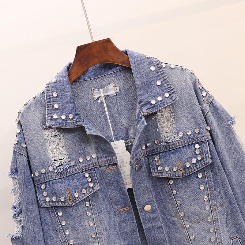 À Vestes Automne Manches Streetwear Blue Manteau Longues Déchiré Femmes Denim Jean Européen Personnalisé Style Lâche Diamants Trou Veste PzazAWq1v