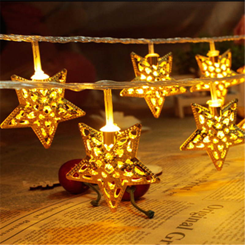 10m 2015 New Year String Light Gold Stars Hollow Out Led