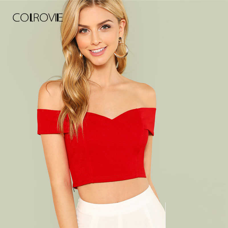 dcd1e73f3b Detail Feedback Questions about COLROVIE Red Elegant Workwear Sweetheart  Slim Crop Top Fold Over Bardot Sleeveless Cami Women Summer Camisole Tank  Clothing ...