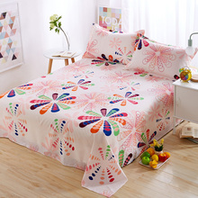 Nordic Girls/Students Room Single/Double Bed Sheets Cartoon Flowers Kids Soft Polyester Bedding Decoration Flat Bedsheet