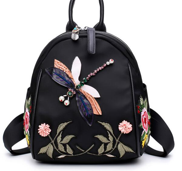 New Style Inwrought Flower Backpack 3D Dragonfly With Handmade Crystal Single shoulder Bag Casual Vintage Backpack