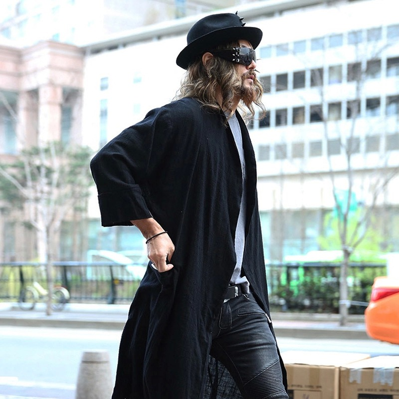 f887149e863a US $62.99 |Neue Avant garde Mens Fashion Drapieren Schal Leinen Lange  Strickjacke Mantel Outwear Mantel Für Herren Herbst Winter Tops Kleidung L  2XL ...