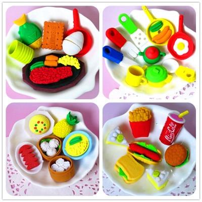 Kawaii Cute Erasers For Kids Rubber Fruit Cake Vegetable Food Eraser Set