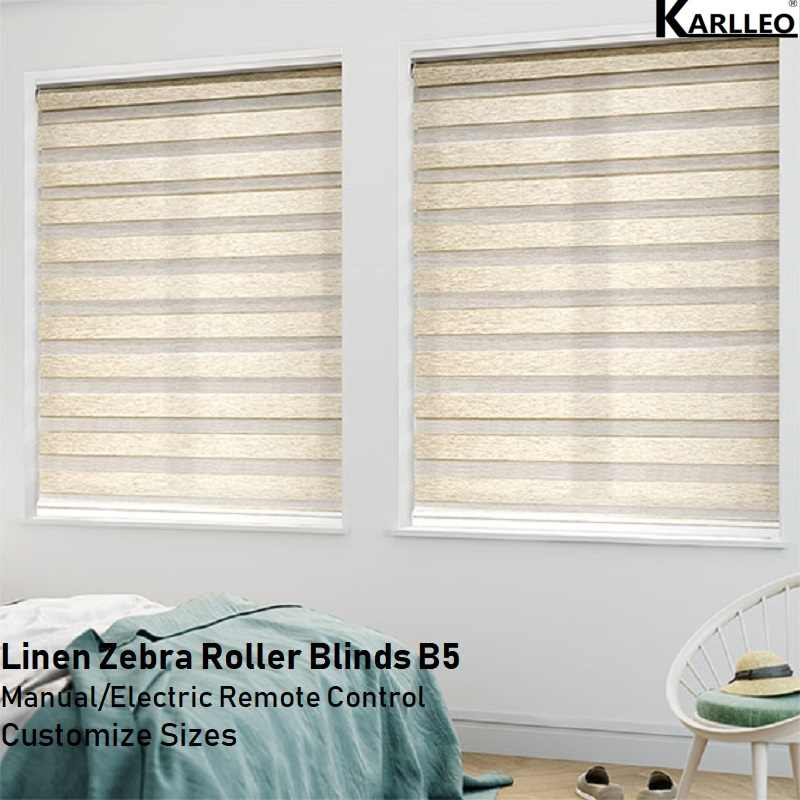 High Quality Blackout Linen Zebra Roller Blinds Curtain Customize Sizes