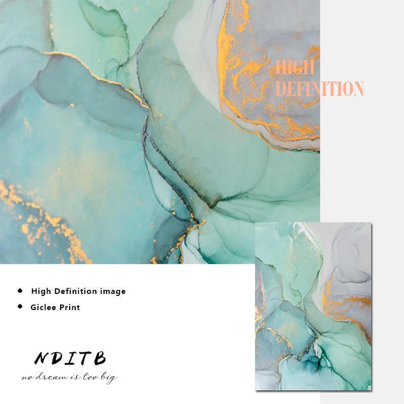 Hijau Biru Tekstur Marmer Abstrak Kanvas Poster Nordic Minimalis Dinding Seni Cetak Lukisan Modern Ruang Tamu Dekorasi Gambar