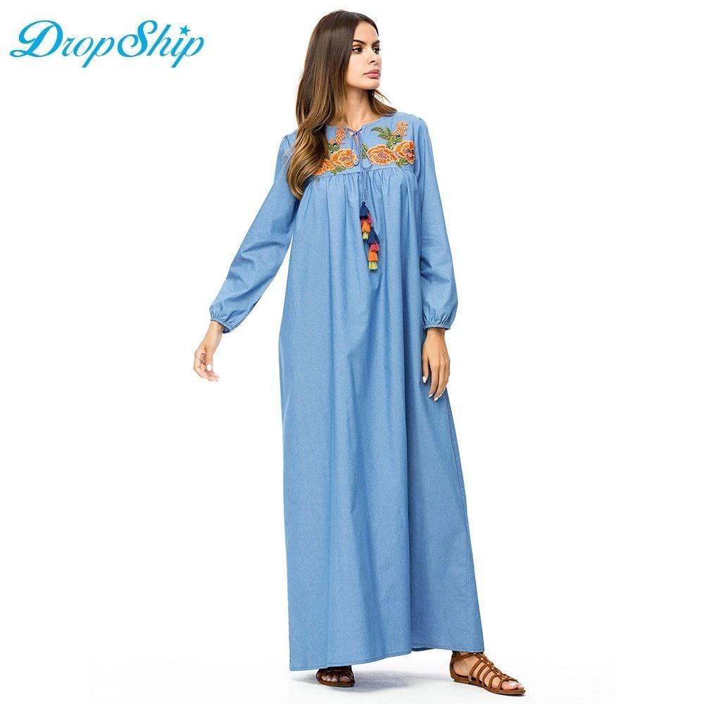 8ecdabe0b8 Dropship Casual Denim Tall Women Maxi Long Dress Flower Embroidery Tassel  Drawstring Design Swing Dress Fall Plus Size Slim Fit-in Dresses from  Women's ...