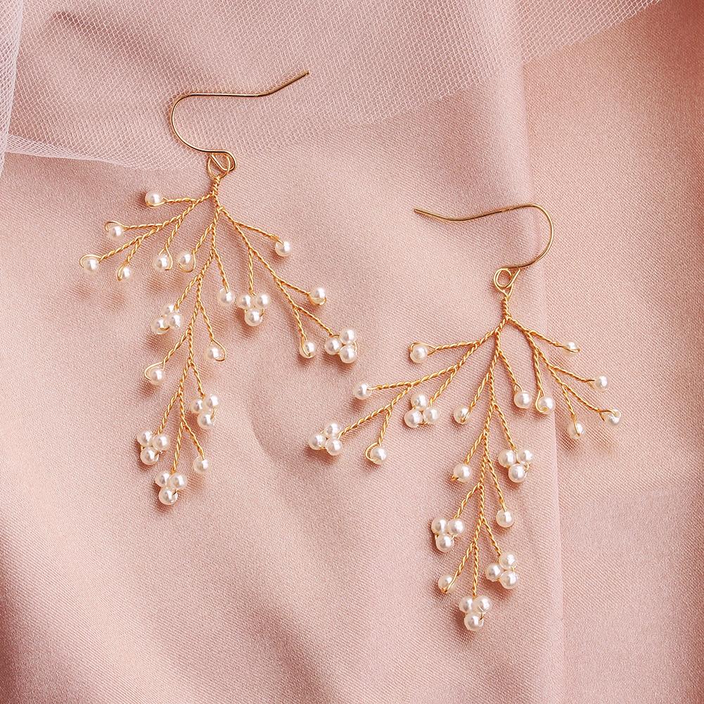 Le Liin Handmade Twig Pearl Dangle Earrings Gold Bride Flower Earring