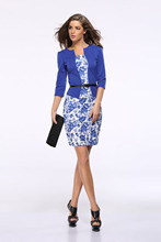 20 Patterns Hot Selling Elegant Office Summer Dress Fake Two Pieces Long Sleeves Flowers Lattices Printing Free Belt Dress Cloth