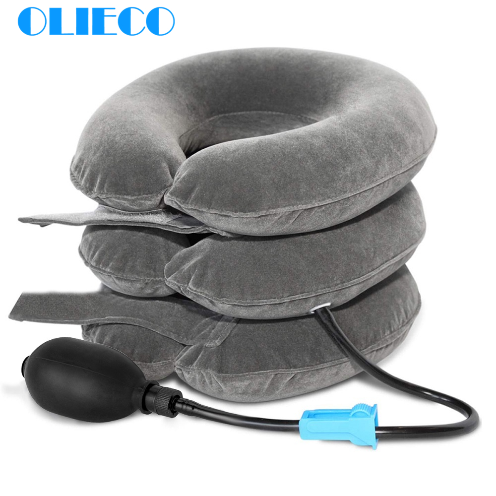 OLIECO Inflatable Cervical Vertebra Traction Soft Travel Neck Pain Release Tractor Neck Posture Correction Neck Stretching Brace