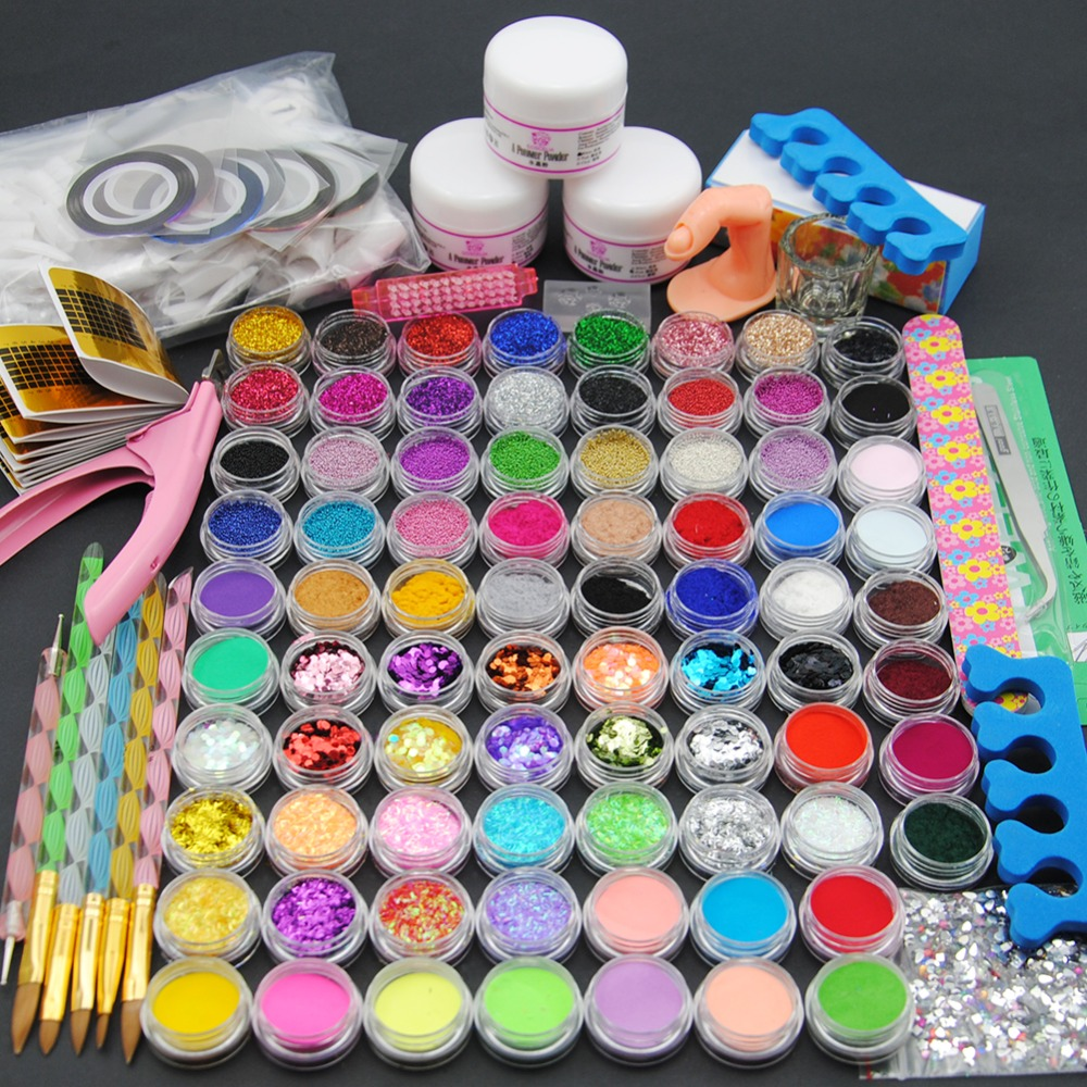 Acrylic Powder Manicure Nail Art Kit 78 Pieces Glitter for Nails DIY Acrylic Rhinestone Glitter Powder File Nail Salon Sets Kits acrylic nail art manicure kit 12 colors nail glitter powder decoration acrylic pen brush nail art tool kit sets for beginners