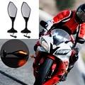2.2cm-6.5cm screw Double Orifice Fixed Rearview Mirror With LED Signal Light For Honda Kawasaki Suzuki Yamaha Motorcycle Mirrors