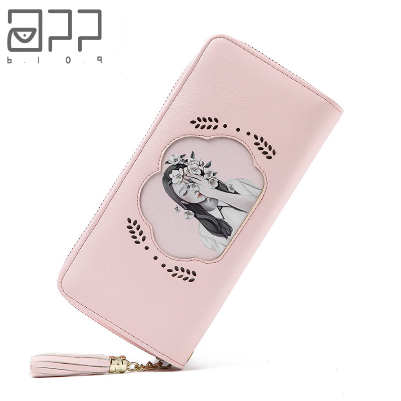 APP BLOG Brand Female Women's Purse Long Fashion Cartoon Cute Sweet Clutch Leather Wallet Phone Key Card Holder Bag With Strap
