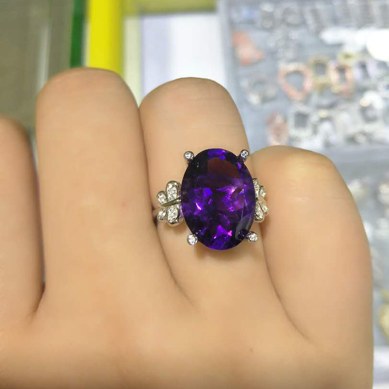 TBJ,Elegant Big 11ct Amethyst Oval 12*16mm Silver Ring,100% natural african amethyst 925 Solid siver Ring with gift box nkf 11ct r033 3