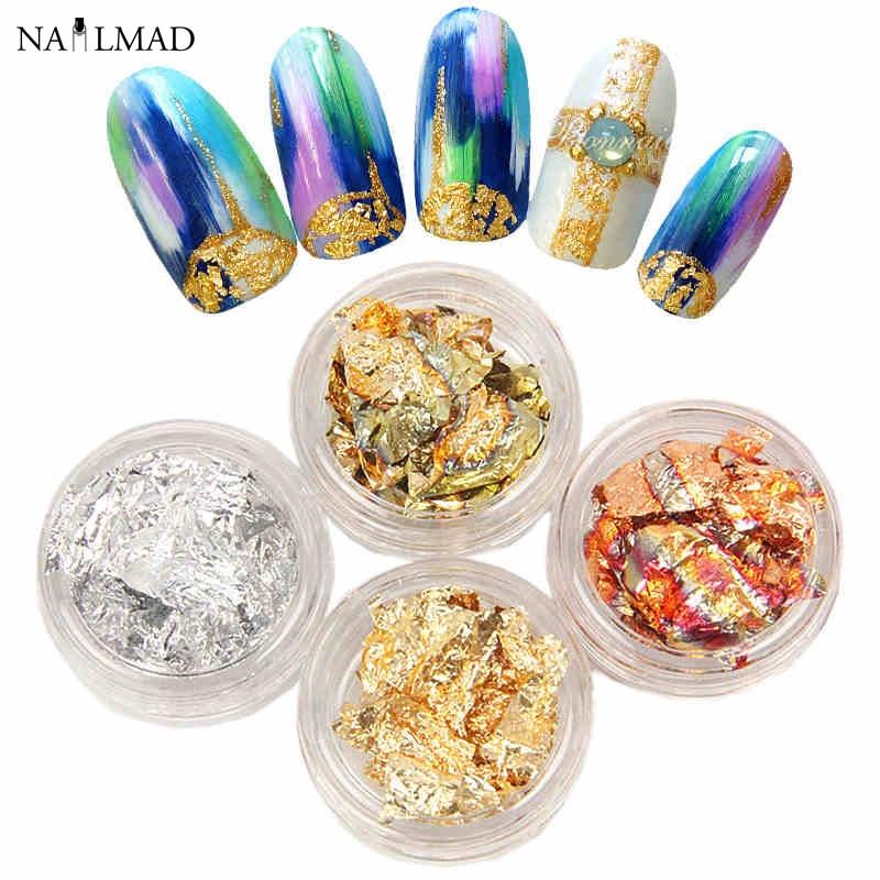 441c33f31aa8 12 cajas set multicolor uñas brillante nail Sparkles oro y plata Manicura  brillo Adhesivos DIY Decoración