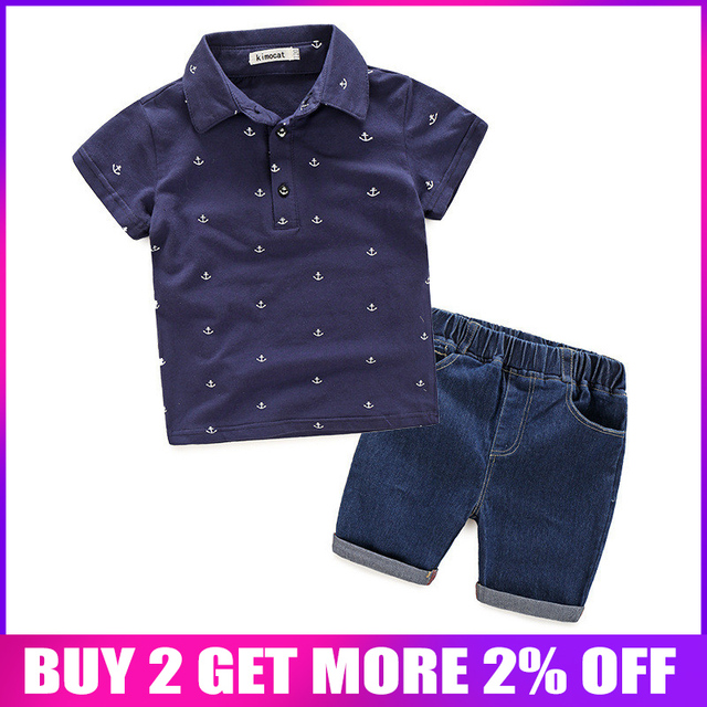 BibiCola Summer Baby Boy Clothes Children Clothing Sets for Boy Toddler Boy Clothes Short Sleeve Shirts +Jeans Denim Shorts Suit
