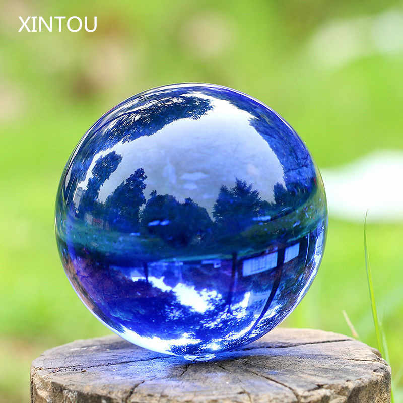 XINTOU Blue Crystal Sphere Ball Natural Feng shui Decorative Glass Marbles Balls Home Decoration Piece Child Globe Toys Craft