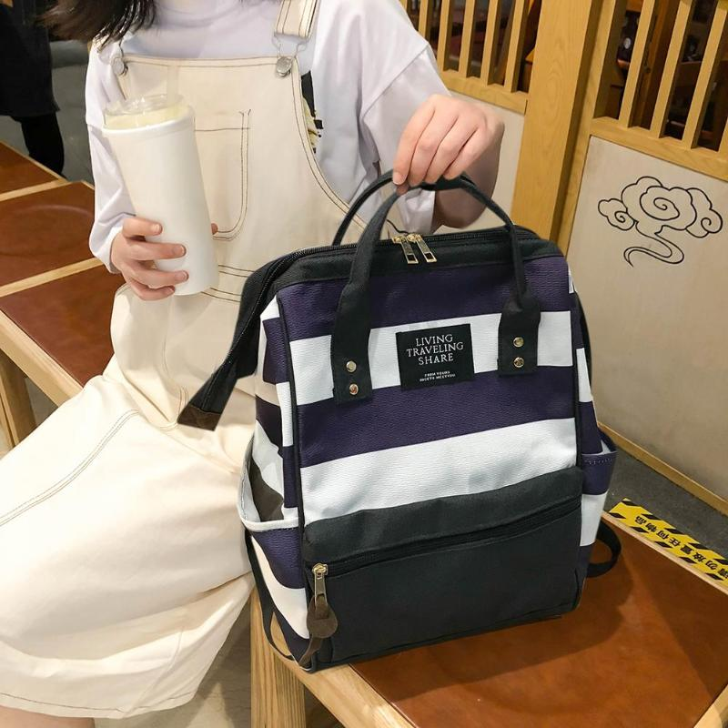 Fashion Stripe Travel Backpacks Women Canvas Shoulder Top-Handle Bags Large Capacity Outdoor Sport Climbing Camping Bag