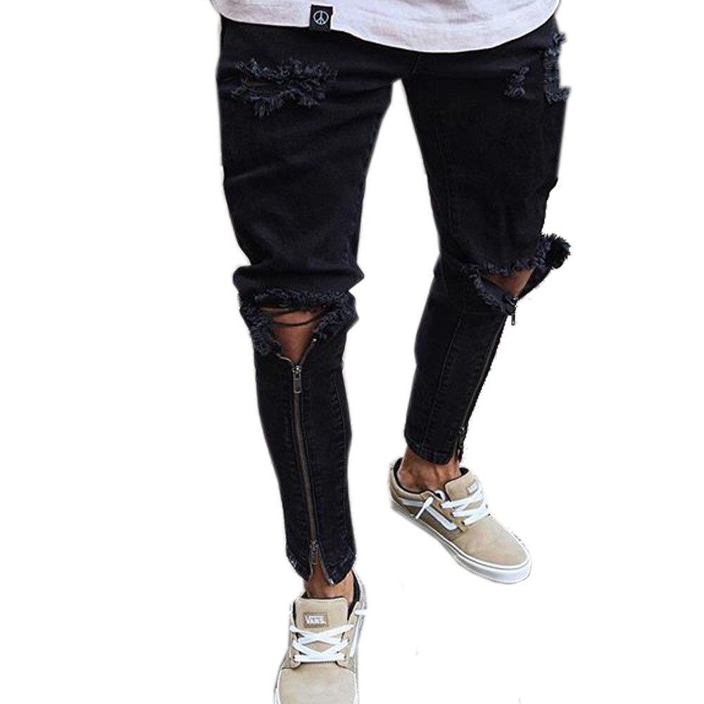 High-end Ankle Zipper Hiphop Men   Jeans   Plus Size Knee Holes Joggers Man   Jeans   Self-cultivation Classic Denim Pants