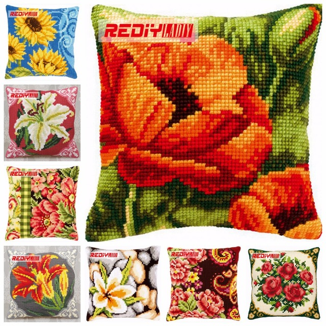 REDIY Cross Stitch Cushion Cover POPPIES FLOWERS Decorative Pillow Magnificent Poppy Floral Decorative Pillows