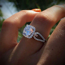 Luxury Female Girl Big 2 ct Crystal CZ Stone Ring Bijoux 925 Silver White Wedding Rings Promise Engagement Jewelry Gift
