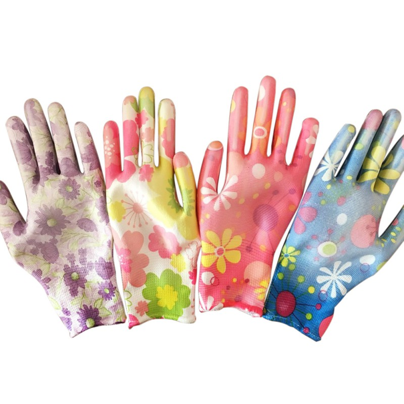 Printed Nylon PU Safety Work Gloves Builders Grip For Palm Coating Gloves Anti-skid Anti-static Housework Wrist Garden Gloves