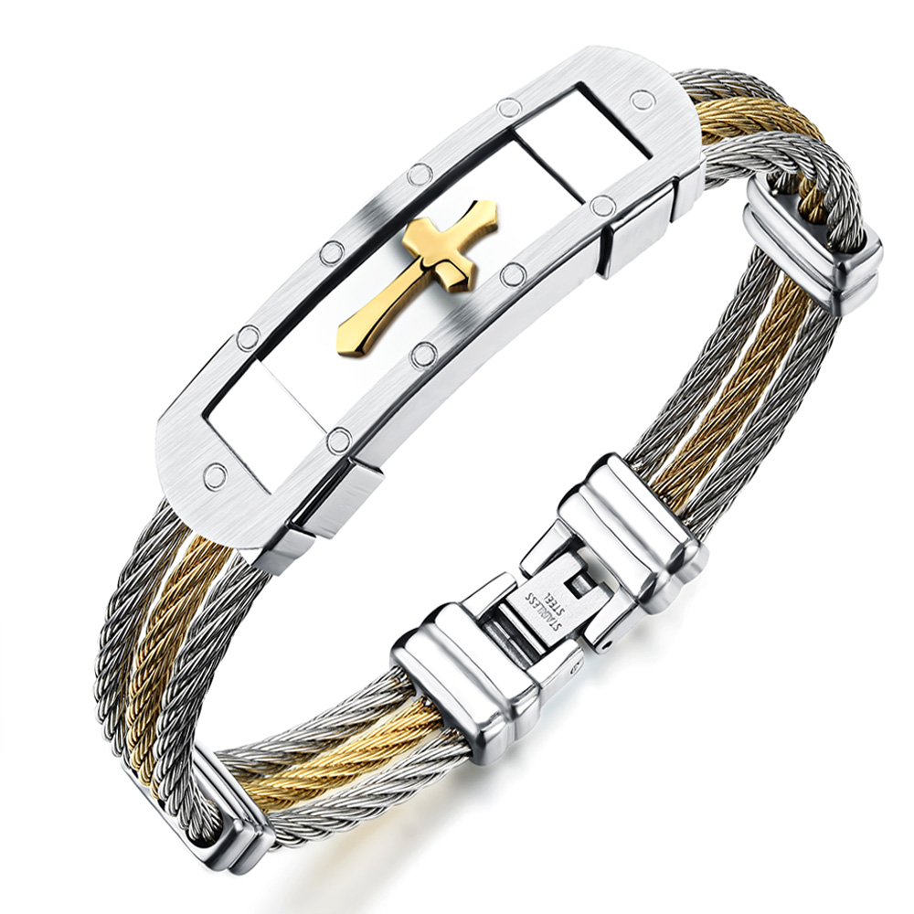 Men's Cross Pattern Stainless Steel Bracelets