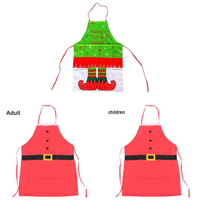 Non Woven Christmas Aprons Adult Santa Claus Aprons Women Men And Kid Dinner Party Cooking