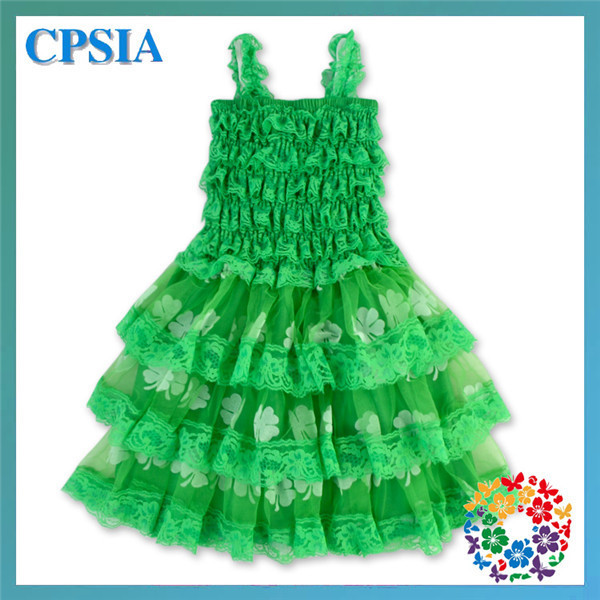 69e5deef9 24PCS LOT Green Shamrock Floral Print Dress With Bow Pageant Summer ...