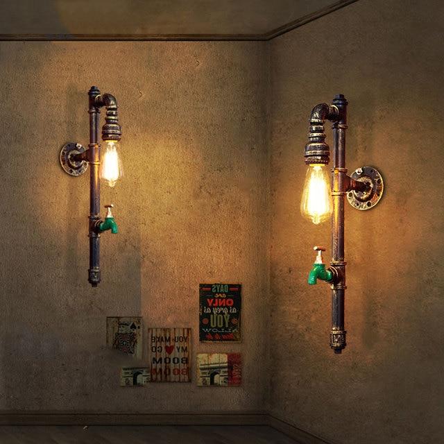 Винтаж промышленности стимпанк лампа Лофт настенный светильник ресторана бара клуба крыльцо коридор cafe Свет Бра водопровод edison E27 бюстгальтер