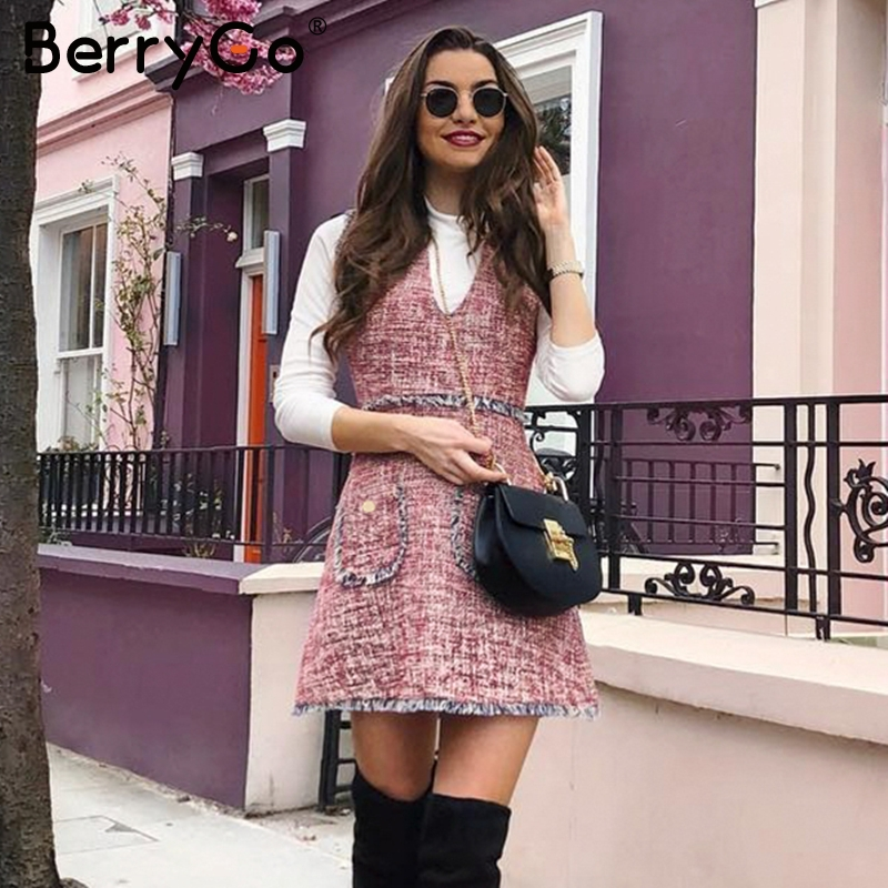 BerryGo Vintage Autumn Tweed Dress Women Sleeveless V Neck Tassel Pockets Office Ladies Dresses Winter Slim Female Work Vestidos