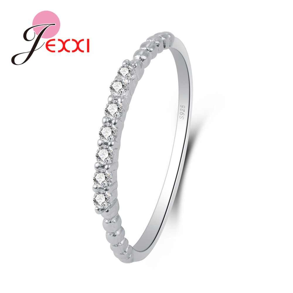 Beautiful Thin Circle Pattern Round Shape Small Shiny Stone Rings For Cute Women 925 Sterling Silver Crystal Best Chioces