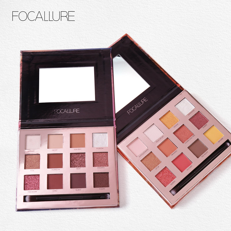 FOCALLURE Eyeshadow Waterproof Cosmetic With Brush and Mirror Long-lasting Eye Makeup Summer Eye Shadow cosmetic 4 colours diamond eyeshadow palette with mirror and brush