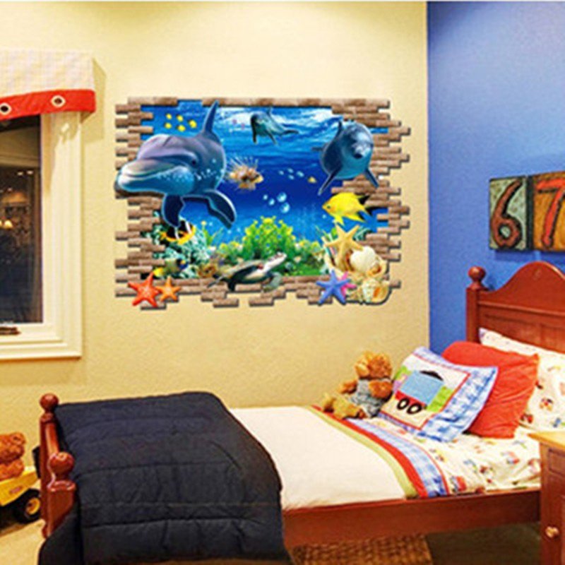 Finding Nemo Delphis broke wall art anime stickers Dolphins world 3d ...