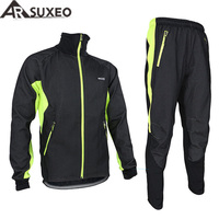 ARSUXEO 2014 Winter Warm Up Thermal Cycling Bike Bicycle Jacket Pant Uniform Bib Pad Windproof Waterproof