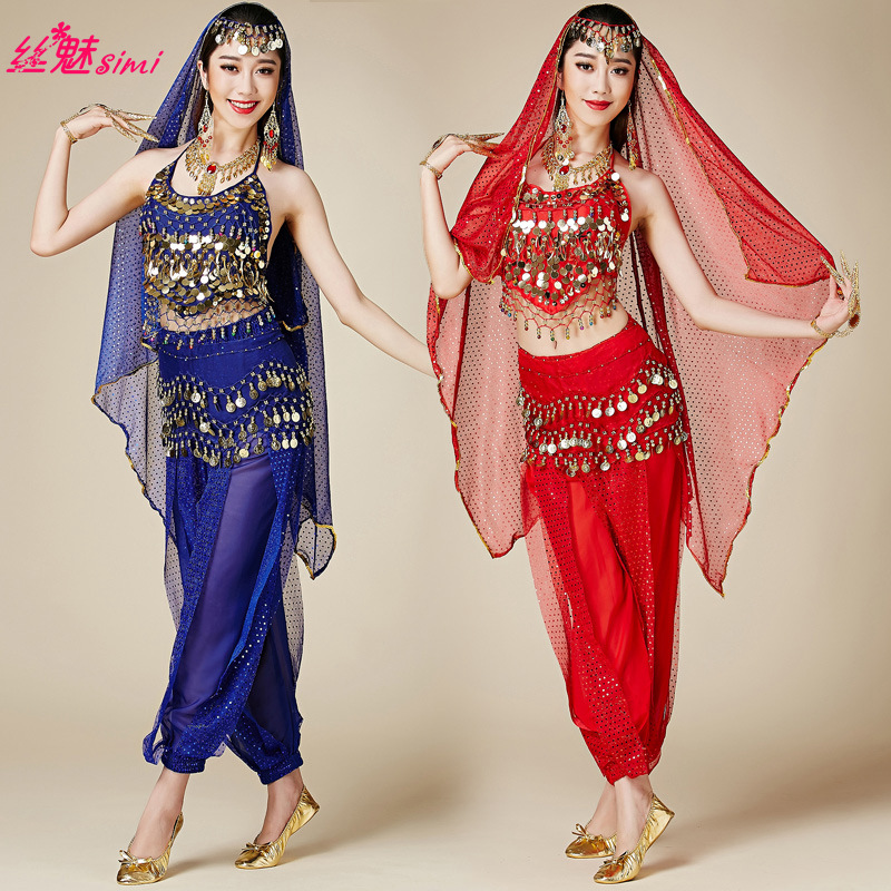 Обувь для девочек Болливуд танцевальные костюмы индийский танец живота костюмы Брюки для девочек и топ Бюстгальтер для Для женщин