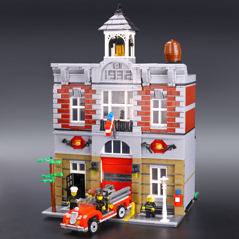 IN STOCK XYTMC 15004 2313Pcs City Street Fire Brigade Model LEPIN Building Kits Blocks Bricks Compatible Legoing 10197 Brick dhl lepin 15004 2313pcs city fire brigade model doll house building kits assembing blocks compatible with legoed 10197