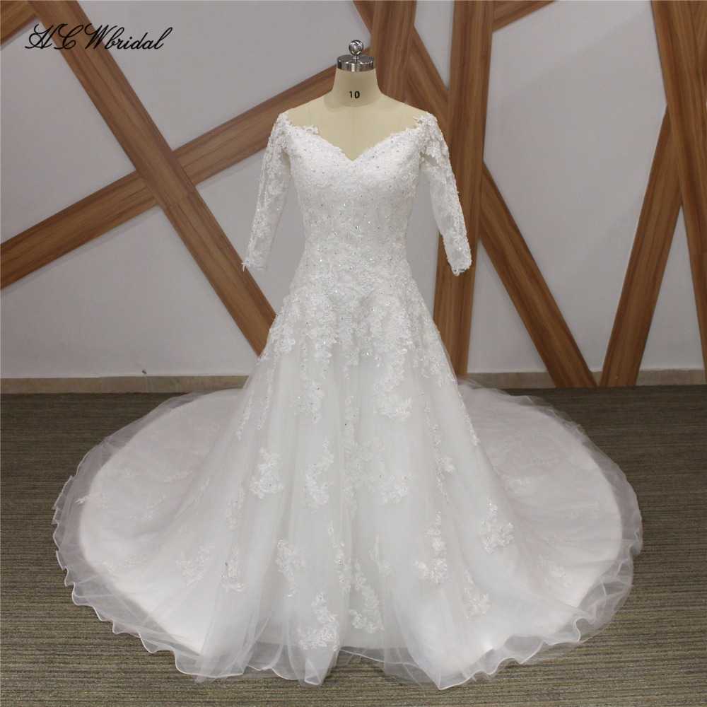 China Long Sleeves Wedding Dress Custom Made Lace Princess: Aliexpress.com : Buy 2019 1.5 Meters Long Train Wedding