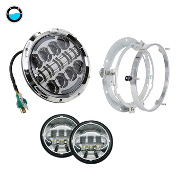 """7 inch Round 80W LED  Headlight+4.5 '' Fog Lights Auxiliary Passing Lights+7"""" Mounting Bracket Ring fit for motorcycle"""