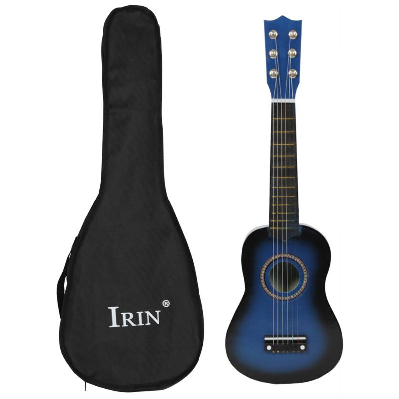 Small Mini Guitar 21 Inch 12 Fret 6 Metal String Wood Black And Bag